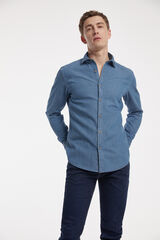 Fifty Outlet Camisa Denim Estampada azulado