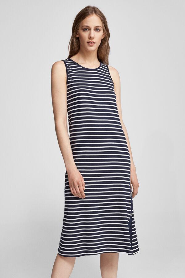 126450f6b9 Fifty Factory Vestido abotonadura Azul marino