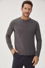 Fifty Outlet Camiseta contapeta y botones Gris