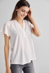 Fifty Outlet Blusa cuello Mao Blanco