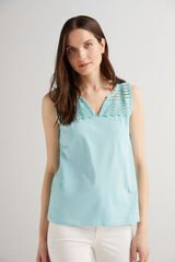 Fifty Outlet Camiseta algodón Azul turquesa