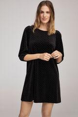 Fifty Outlet Vestido terciopelo brillo Negro