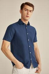 Pedro del Hierro Camisa manga curto linho  Azul