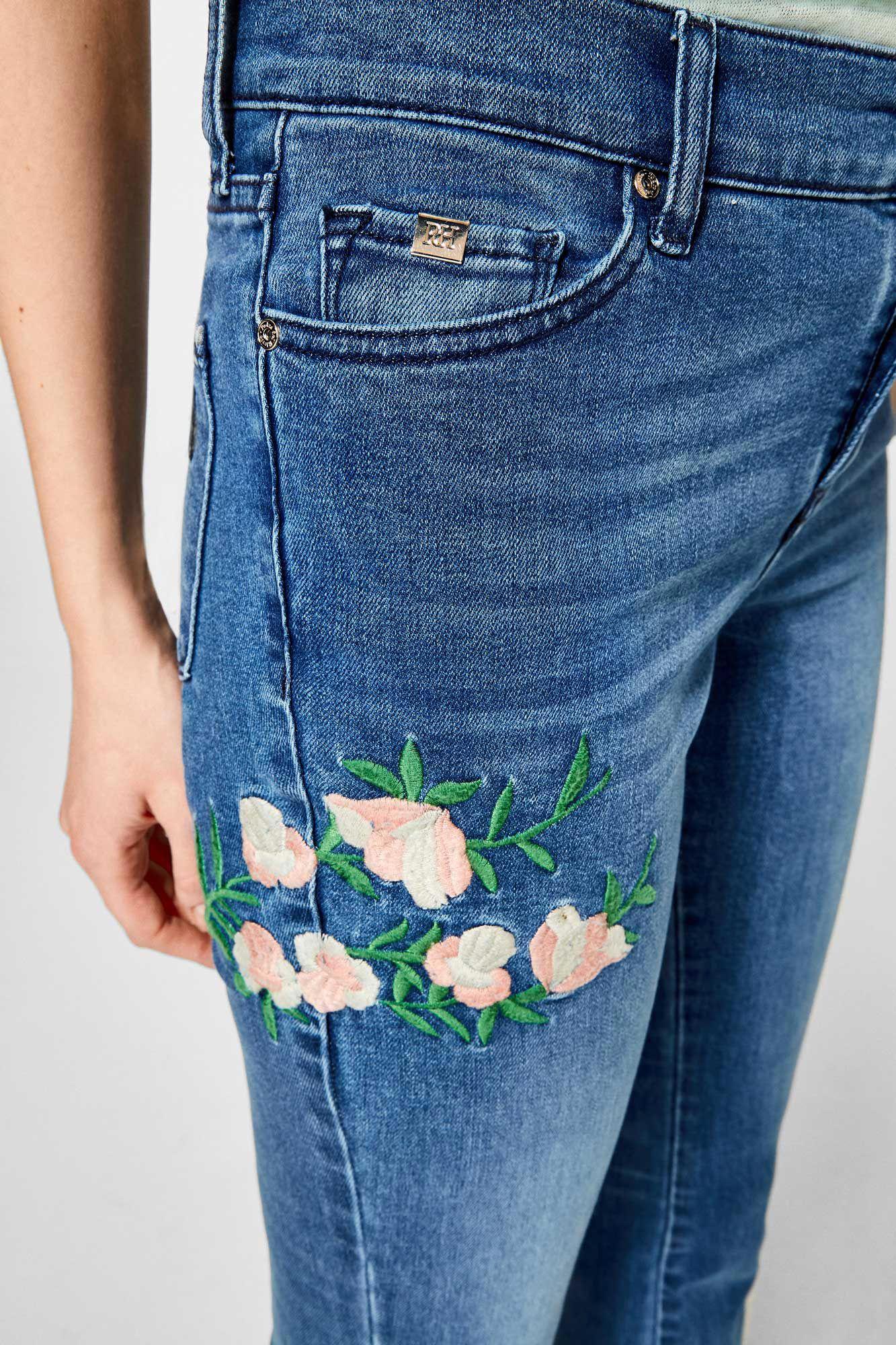 Pantalón Bordados Denim Jeans Fifty Flare wBB6SqaxH