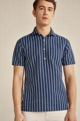 Pedro del Hierro Camisa polo manga curta linho-algodão Azul