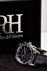 Pedro del Hierro Reloj esfera negra correa piel Negro