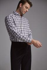 Pedro del Hierro Camisa cuadro melange cashmere touch algodón Gris
