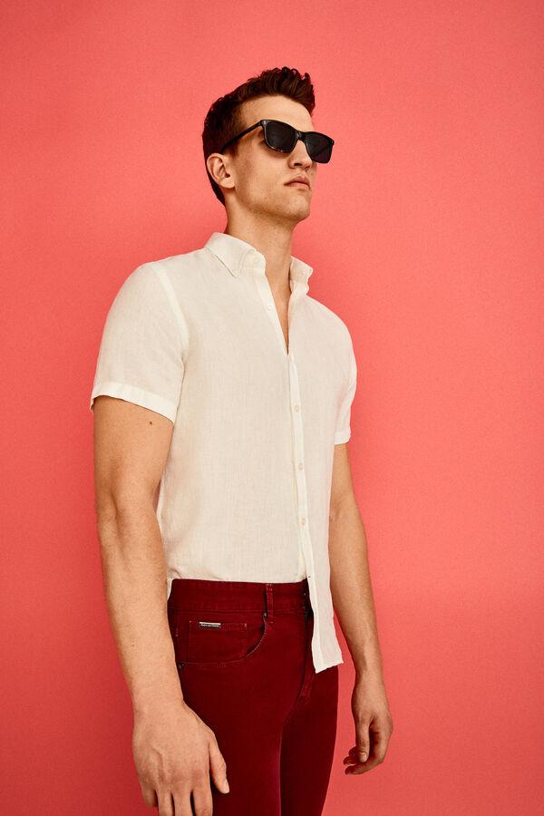 baaae36c2fbe5 Pedro del Hierro Camisa manga corta lino Blanco
