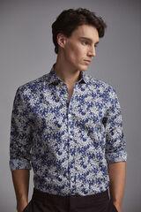 Pedro del Hierro Camisa estampado flor tejido italiano Azul