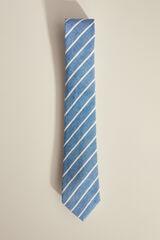 Pedro del Hierro Gravata linho - algodão riscas Azul