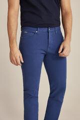 Pedro del Hierro Pantalón 5 bolsillos color premium flex slim Azul