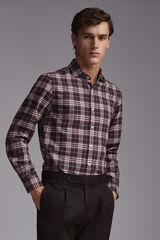 Pedro del Hierro Camisa cuadro tartan cashmere touch algodón Gris