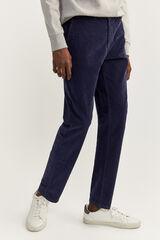 Springfield Pantalón chino slim pana azulado