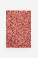 Springfield Lenço de seda estampagem flores folhas vermelho