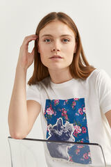 Springfield Camiseta Gráfica Flores blanco