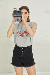 "Springfield Camiseta ""Feeling Good"" hombreras algodón orgánico gris"