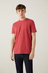 Springfield Camiseta microraya bordado naranja
