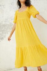 Springfield Vestido túnica largo bordados amarillo