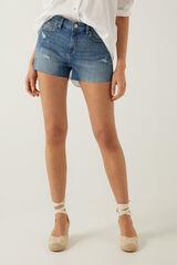Springfield Calções jeans quebrados azul aço