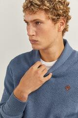 Springfield Jersey cuello alto jaspeado azul acero