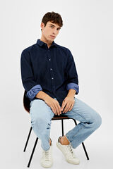 Springfield Camisa micropana lisa azul