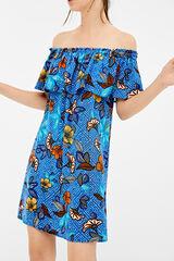 Springfield Vestida flor africana folho azul