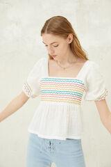 Springfield Blusa bordados multicolor blanco