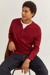 Springfield T-shirt de manga comprida e gola padeiro vermelho