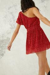 Springfield Vestido Corto Asimétrico rojo