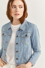 Springfield Casaco Jeans Riscas azul aço