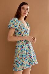 Springfield Vestido corto estampado viscosa sostenible azul