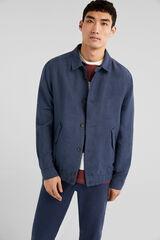 Springfield Cazadora lino/algodón cuello camisero azul acero