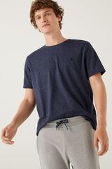 Springfield Camiseta microraya bordado azulado