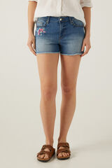 Springfield Calções jeans flor bordada azul aço