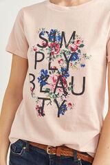 Springfield Camiseta Gráfica Texto y Flor rosa