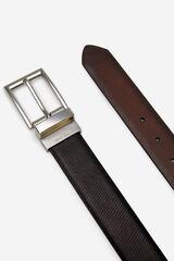 Springfield Cinturón efecto piel grabado reversible negro
