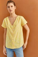 Springfield Camisa Cuadros Bordado Suizo amarillo