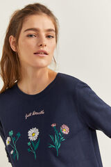 "Springfield Jersey ""Just breathe"" flores azul"