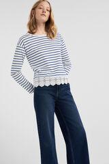 Springfield Camiseta bajo crochet algodón orgánico blanco