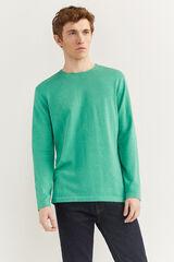 Springfield Camisola de algodão melange com cotoveleiras verde