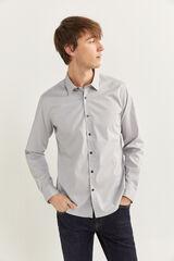 Springfield Camisa slim estampada gris