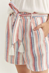 Springfield Short Lino Rayas Cinturón rosa