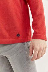 Springfield Camisola de algodão melange com cotoveleiras vermelho