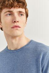 Springfield Camisola de algodão melange com cotoveleiras azul