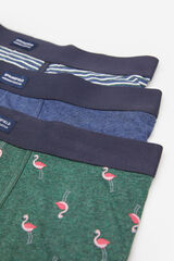 Springfield PACK 3 BOXERS FLAMENCO verde oscuro