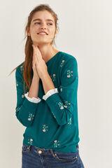 Springfield Jersey flores bordadas puños bimateria esmeralda