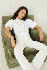 Springfield Blusa bordados lace blanco