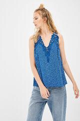 Springfield Blusa escote crochet azul