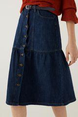 Springfield Saia jeans midi folhos  azul
