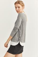 Springfield Camiseta Cuello Bimateria gris